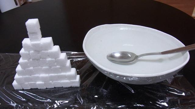 カレーライスと同じ分量(約500ml)の水に角砂糖35個入れたものと比べてみる
