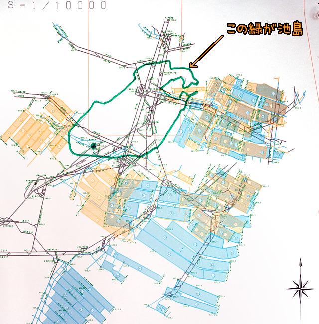 上の図の拡大。池島周辺の部分。島はあくまで基地であって、炭鉱の本体は大海原の下だということが分かる。