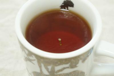 紅茶に緑茶の茶柱を立てると、なぜだかものすごく背徳的な気持ちに