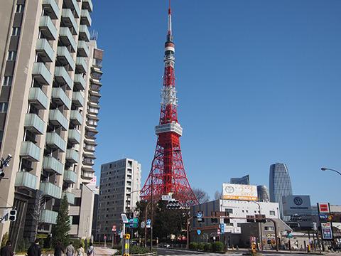風船かぶり日和の東京タワー。