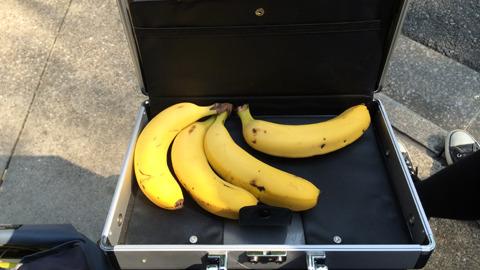 無事に交換できたバナナ。ものすごいスリル
