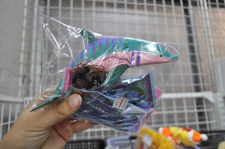 木彫の謎の魚類っぽいやつと入浴剤のセット162円。まさか、この魚類っぽいやつをお風呂に浮かべろってことか。