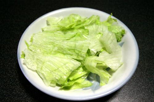 レタスをちぎっただけ。これをサラダというには無理があるが……