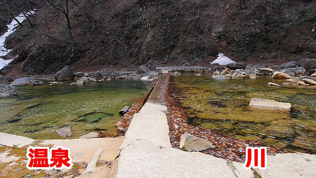 向かって左が温泉で、右は川