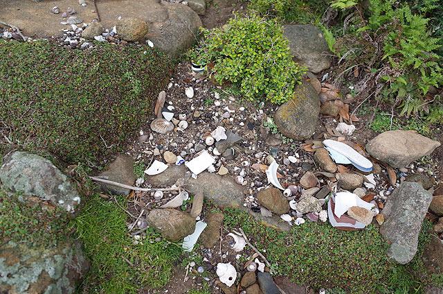 落ちてるものは、石、食器の破片、貝、骨が多い。