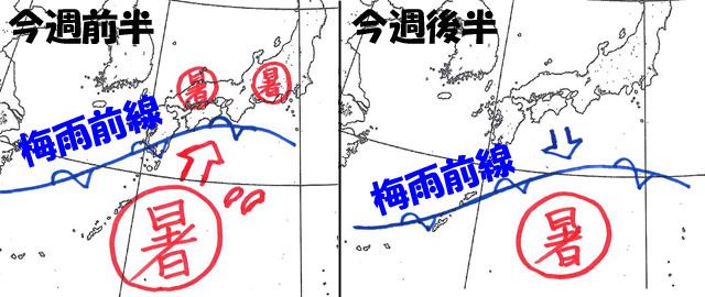 ノロノロ低気圧が遅いせいで、週末は高気圧がいつまで日本に居座るか読みづらくなった。 高気圧が衰えると、スキを狙う低気圧が北から来るという、カオスぎみな天気図。