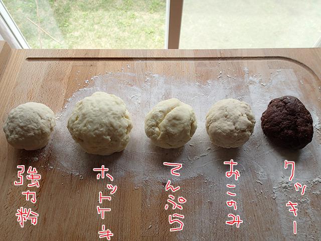 こねあがった粉がこちら。ホットケーキミックスが一回り大きいのは小分け袋の容量が少し多かったから。