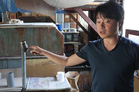 株式会社石山の石川さん。石川さんのお父さんが28年前にはじめた工場らしい。