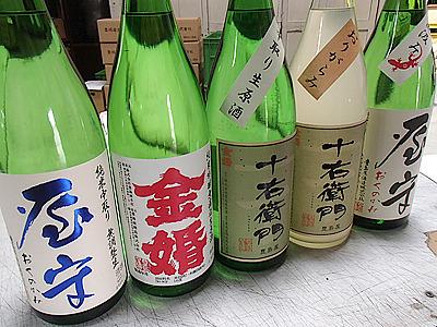 蔵の代表銘柄「金婚」「十右衛門」。「屋守」と書いて「おくのかみ」と読みます。爽やかな甘味のあるもの、米の旨味のしっかりしたもの。どれもいい酒です。