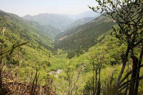 青崩峠から見た北側。この先に152号線の続きがあるはずだが……