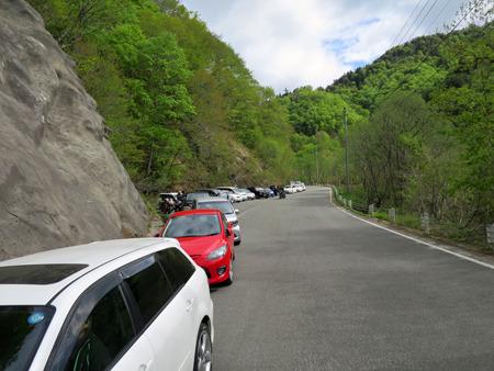 既にダムまで200mくらい駐車の列が続いている