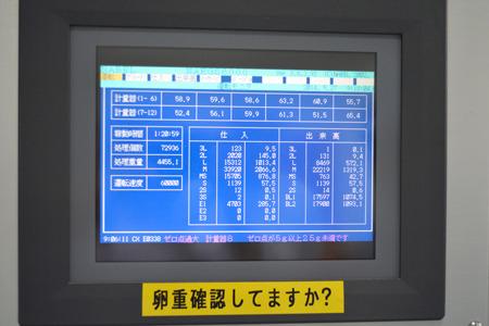 そしてサイズ別の数を計上している機械がこれ。テプラがめっちゃ大きい。