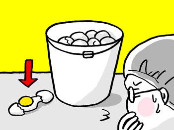 と。振り落とされてもなお、その仲間にすらなれなかった卵を発見しました。いったい、どうやって落ちるとそうなるのか……。