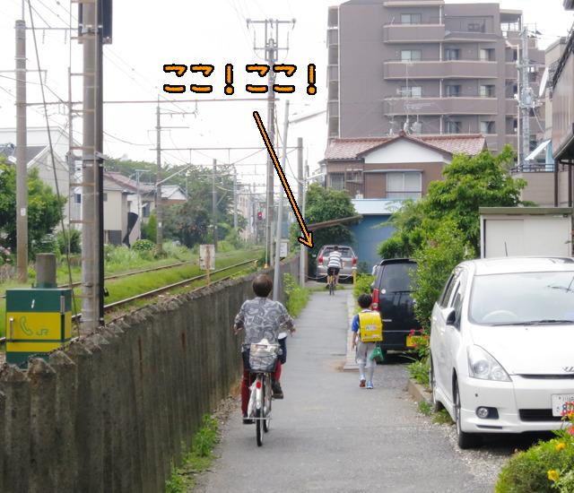 自転車に乗ってる人に興奮しているかのような矢印になってしまいましたが、そうじゃなくて道が「線路沿わなく」なっているこの箇所のことです。