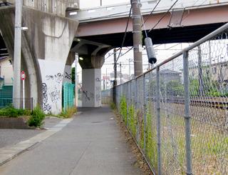 「線路沿いの道が阻まれる」で言うと、こういうふうに陸橋の橋脚が道の真ん中に立ってる、っていうのもいいなー!って思った。