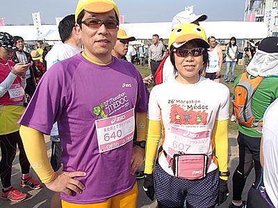 メドックマラソンの大会Tシャツを着た経験者も今大会で走っていました。私も出たいぞメドックマラソン!