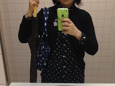 鏡に映った自分が全体的に水玉模様。