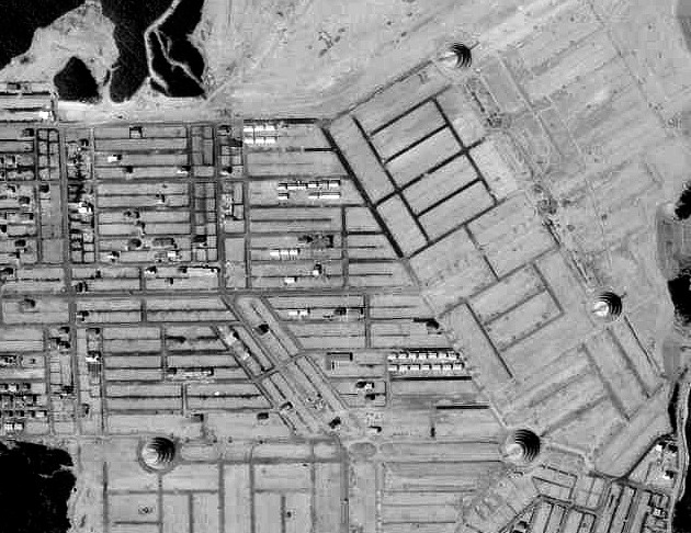 上の写真と全く同じ範囲。鉄塔が残されてる様子がくっきりと!(国土地理院「地図・空中写真閲覧サービス」より・MTO713X・コース番号:C7/写真番号:10/撮影年月日:1971/05/18(昭46)に加筆)