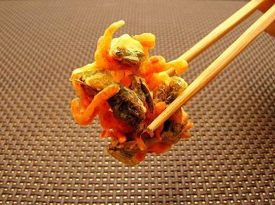 残ったカブトエビは味を補うために小エビを混ぜてかき揚げで頂きました。
