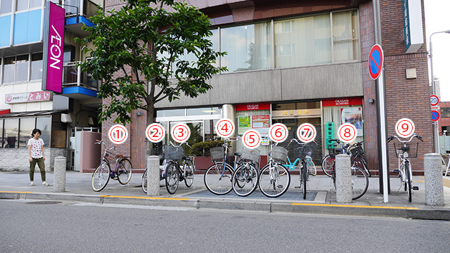 絶妙な間隔があいた9台の自転車たち