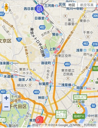 上の青い丸が自分。下の赤い丸が西村さん。