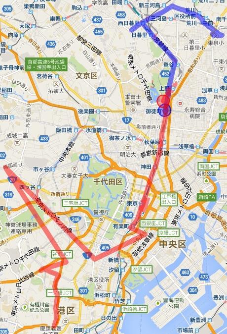 今日の行程。青が自分、赤が西村さん。