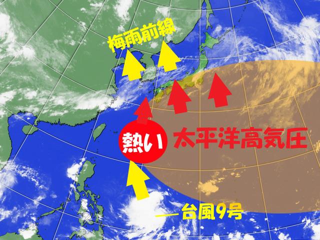 台風9号がもし北へ来ると、梅雨明けに一気に近づくが…。