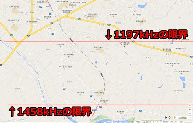 石岡駅の少し手前から水戸局(1197kHz)の電波にスイッチ。線引きは感覚的なものですが、だいたい合ってると思います