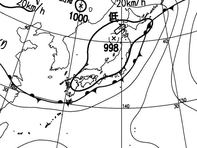 2009年7月22日正午。気象庁天気図。