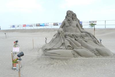 旭市の海岸では、砂像のイベントをやってました