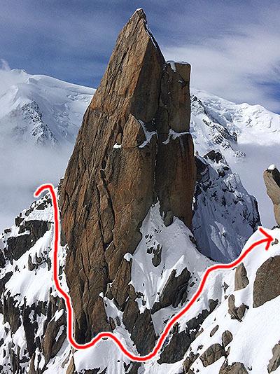 赤い線の場所を歩いてきた。要所要所は確保されながら登るので安全性は担保されている。