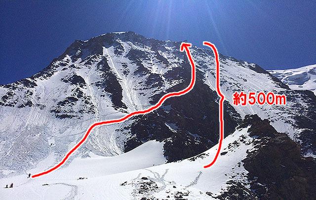 雪の斜面がノイジーなのは雪崩の跡です。雪崩の跡を越えて、その先は岩の斜面を登ります。
