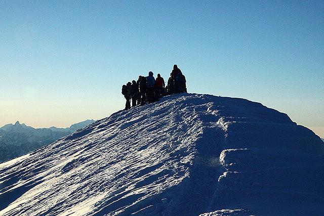 ここがヨーロッパアルプスの最高地点、モンブランの山頂です。