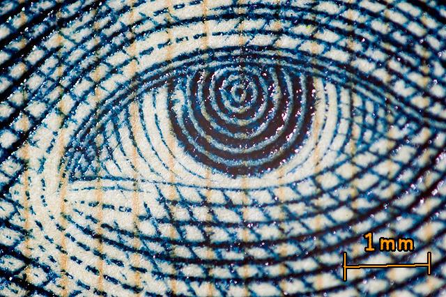 千円札の野口英世さんの目。マンガ「NARUTO」の登場人物のような渦巻きの瞳。