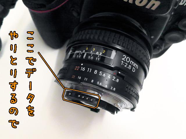 レンズのピントや絞りを自動的にコントロールするための接点が、当然カメラと切り離されちゃうわけだ。逆だから。