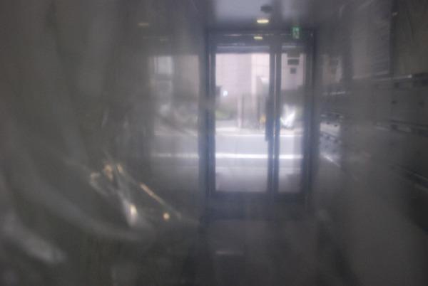 見慣れた事務所ビルの玄関もやっぱり幻想的。ブクブク