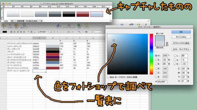 ウェブサイトの色見本をキャプチャしてフォトショップで調べた。ものすごく適当な調べ方である。