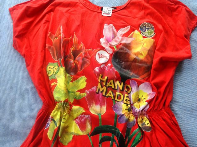 フリーメイソンのTシャツと同じところにあった、ワケわかんないTシャツ。799円。何、ハンドメイドって。これ着て近所を歩くぞ!