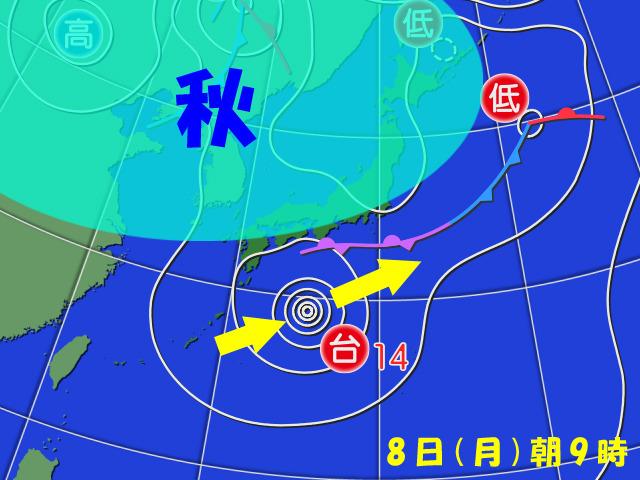 台風14号は本州付近まで北上できず、そのまま東へ。