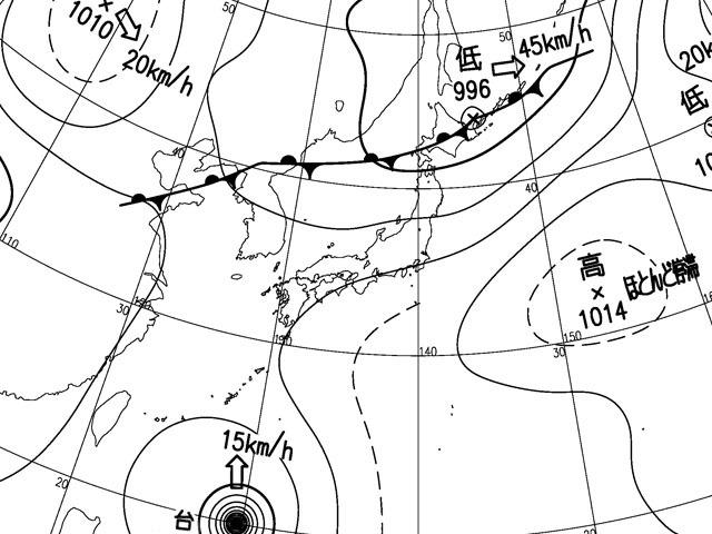 2014年8月5日午後3時。気象庁天気図。