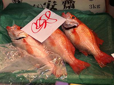 金沢で人気の高級魚といえば、やはりノドグロ(アカムツ)だろう。地元産の大型はなかなかのお値段だ。