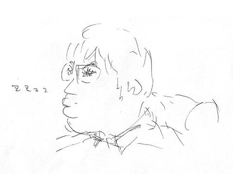 寝る西村さん。さすがに長い。ぼくも3、4回は寝た。しかしステージに迫力があるのですぐ起きる。起きたら話を知ってるし台本があるので復帰できる。