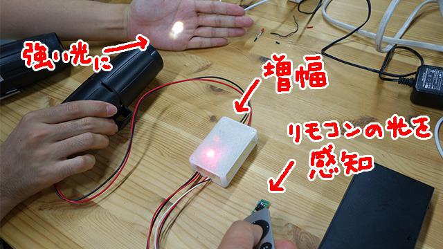 リモコンから出る光のパターンをそのまま大きくする装置(これはテスト用に見える光で出してますが、本番では赤外線なので見えません)