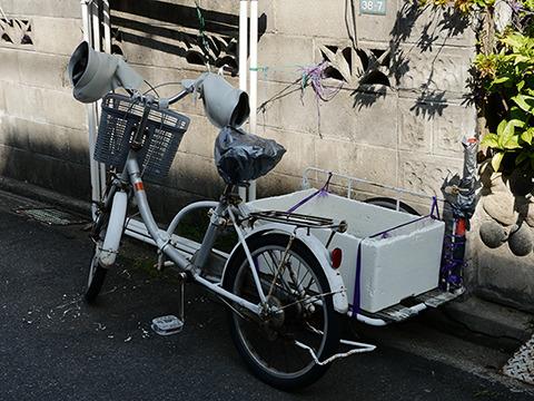 小径の自転車にもついているようだ。おばちゃんテイストあふれるサイドカーだ。