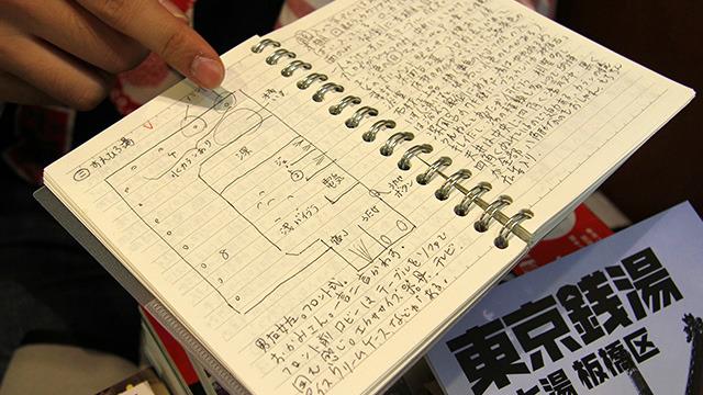 高山さんがお風呂から出たあとに書くメモ。設備など細かく書かれている。この記憶力・・・もし銭湯で殺人事件があったら解決しちゃいそう