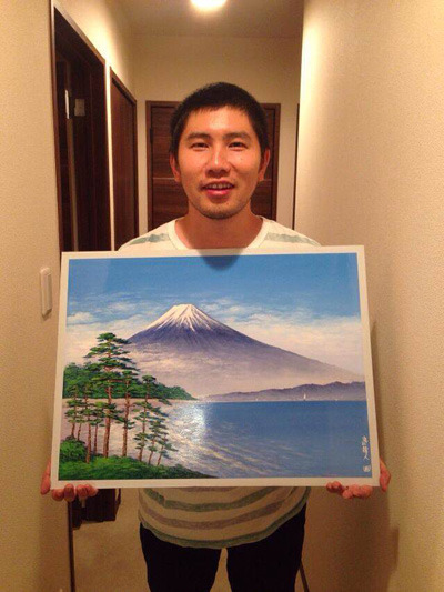 毎年10月10日に行われる銭湯イベントのオークションで落札した丸山さんによる富士の絵。色々聞いたあとだと私も欲しくなる