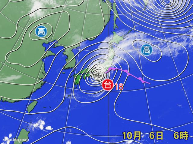 台風18号は、北側の高気圧を押し分けて上陸。台風19号も追っかけで接近?