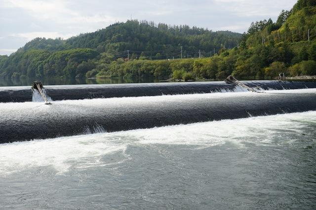 こちらが本川の千代田堰堤。開いた口が塞がらないほど美しく、かつダイナミック。