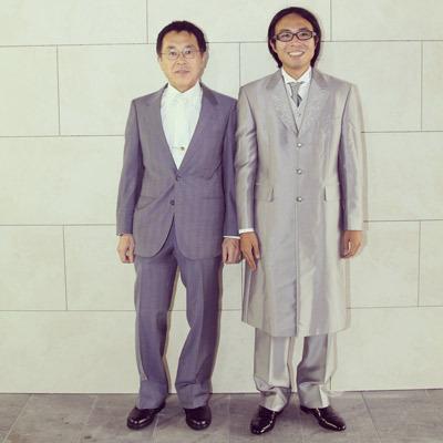 結婚式で父と一緒の一枚