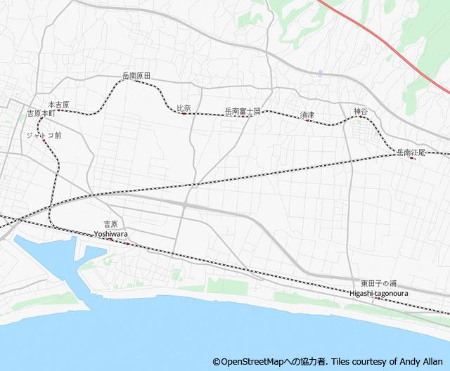 東海道本線吉原駅から北に向かってにょろっと伸びている(OpenStreetMapより (c) OpenStreetMapへの協力者. Tiles courtesy of Andy Allan)